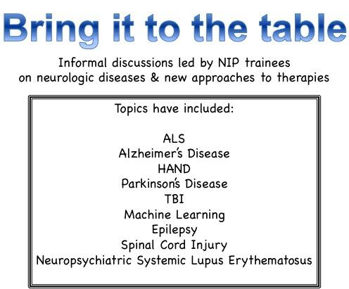 Bring it to the table. Informal discussions led by NIP trainees on neurologic diseases and new approaches to therapies.